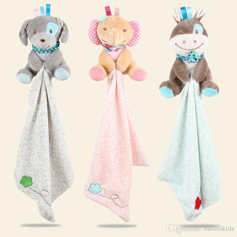Chocalhos do bebê Brinquedos Do Bebê Comforter Bonito Dos Desenhos Animados Animal Plush Macio Chocalho conforto toalhas bonecas Cuidados Com o Bebê Multifuncional