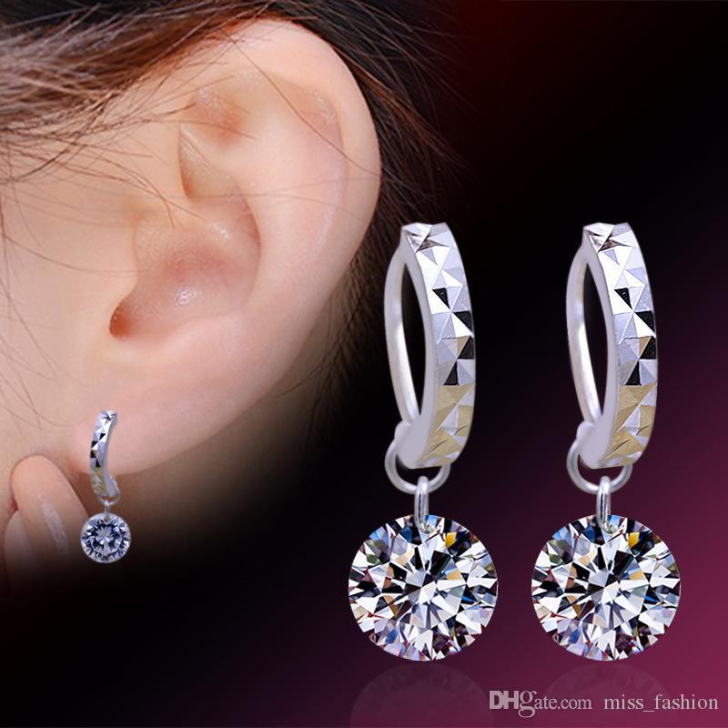 Vrouw Earring Crystal Sieraden Pure Diamond Hoop Oorbellen Bruiloft Vintage Hot Selling Oorbellen voor Vrouw