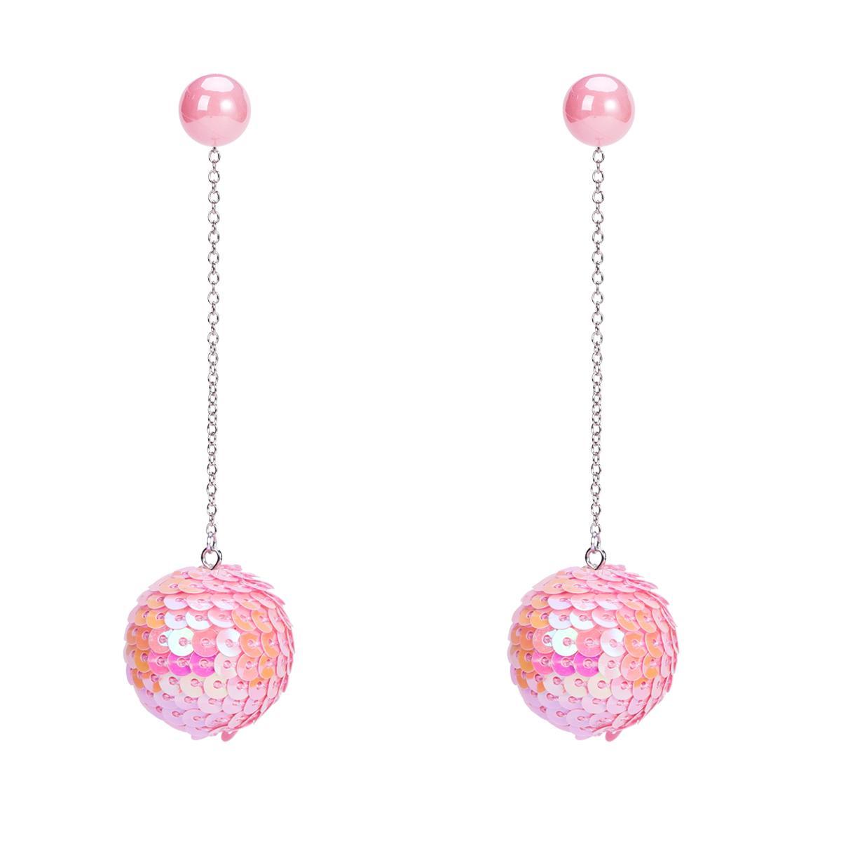 Nueva llegada 7 colgantes de color de Bling Bling de la escama de pelota pendiente simulado perla Piercing largo del pendiente de gota para las mujeres de las muchachas Pendiente joyería