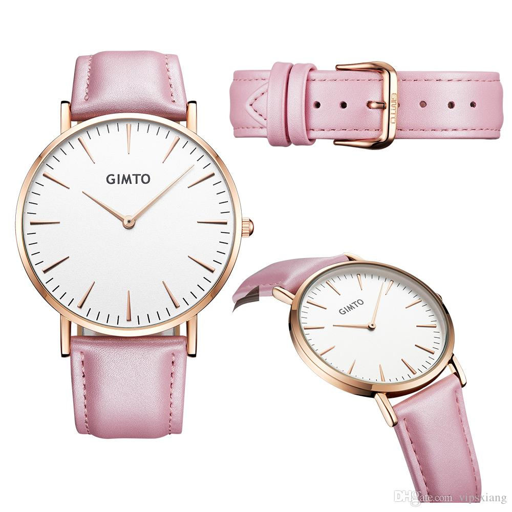 Unisex Reloj de cuero lujoso Reloj de cuarzo ultra delgado deportivo Relojes de hombre y mujer Impermeable Diseño simple Reloj de pulsera para enamorados