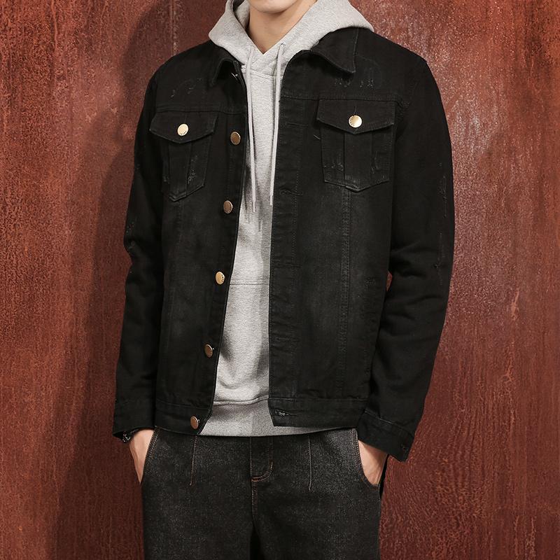 distinctive style online distinctive style 2018 New Arrive Black Hooded Denim Jacket Mens Hat Detachable Vintage  Single Breasted Hoodies Cowboy Outerwear #911 Cheap Jacket Latest Jackets  For ...