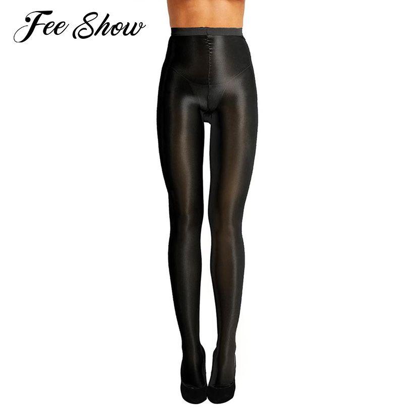 Control de las mujeres Top Ultra Sheer Shimmery Stretch 70D Espesor Full Footed Silk Medias Aceite Brillante de cintura alta medias Pantyhose