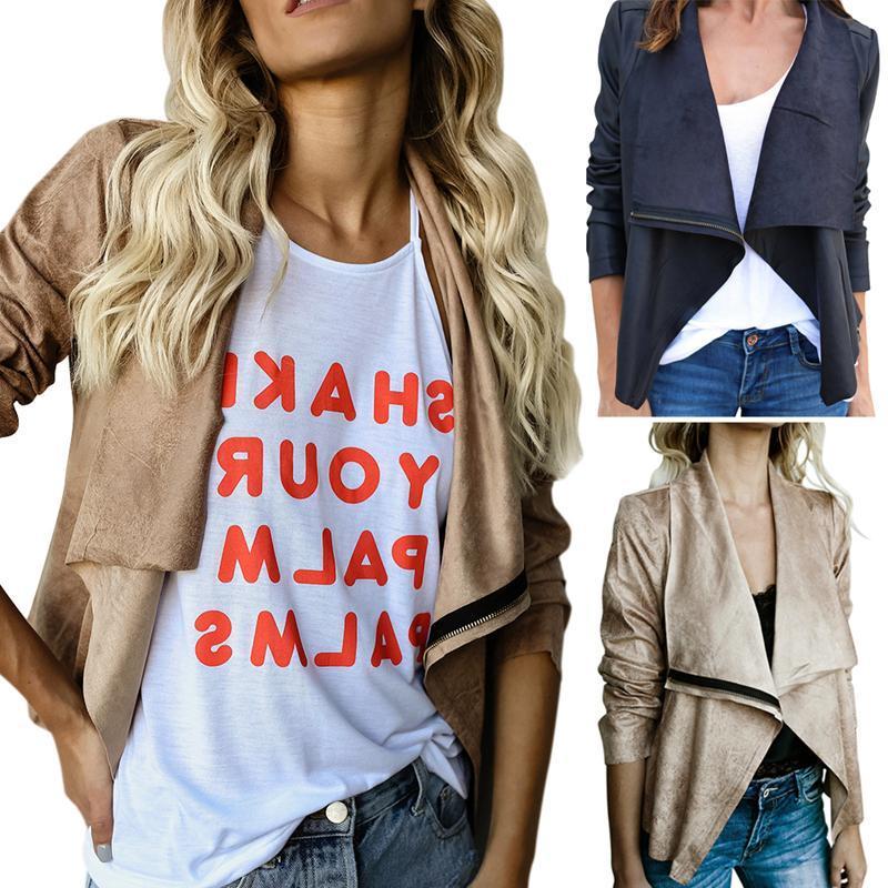 Casual modello medio e lungo tinta unita Revers Coat Zipper Type Revers Suede camoscio Casual Coat Abito femminile Taglia M-2XL
