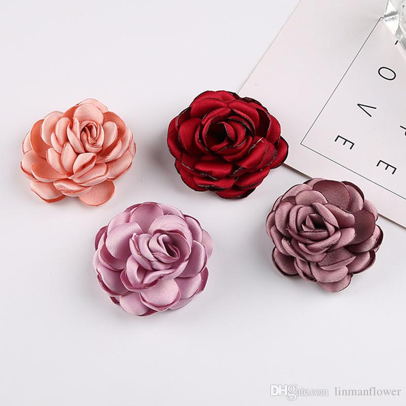 Los 5.5CM flor barata mini artificial de tela Rose cabezas de flores de DIY Scrapbooking falso beso bola de la flor para la boda decorativo