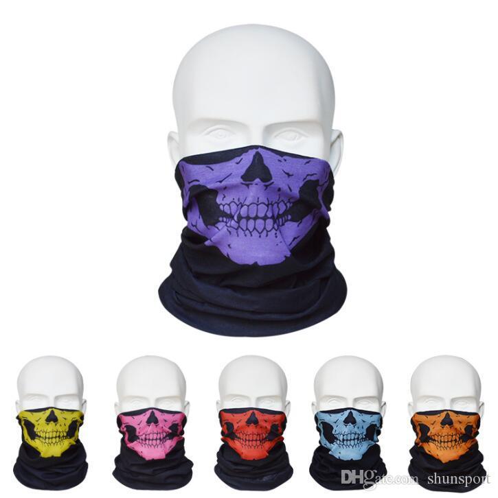 New Skull Design Multi Function Bandana Sci Sport Motociclista Sciarpe mezza faccia Maschere Maschera facciale esterna 12 colori