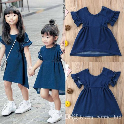 Kid Baby Girls Short Sleeve Princess Dress Outfit Denim Party Sundress Clothes A