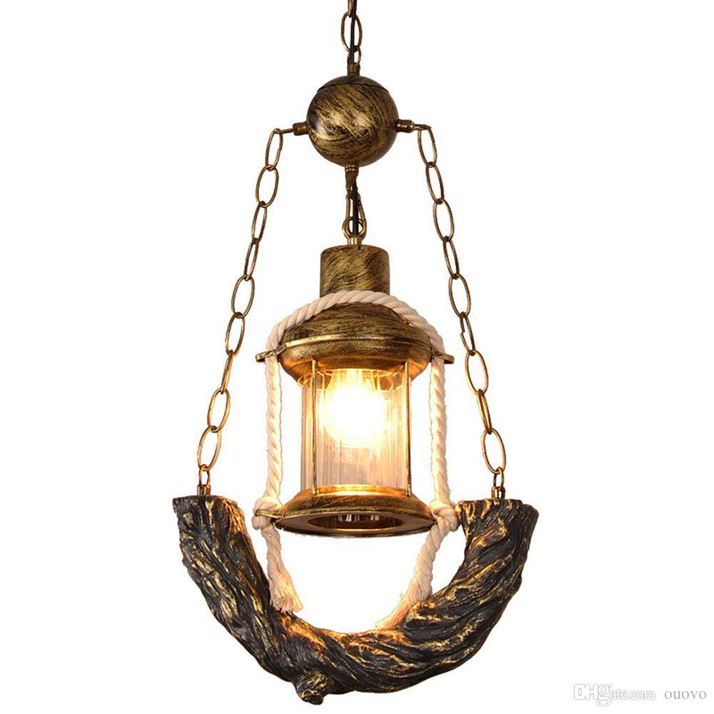 Vintage Bronze Resin Kerosene Glass Corridor Pendant Lamp Stair Case Hanging Lamp American Coffee House Bar Counter Pendant Lamp