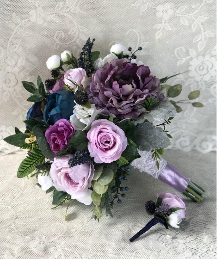 Wedding bouquet,Bridal bouquet,Lilac bouquet,Silk flower bouquet,Navy & lavender bouquet,Wedding accessory