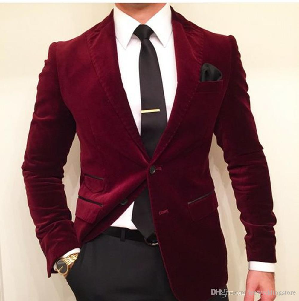 Custom Men Suits Burgundy Velvet Wedding Suits For Men 2 Piece Blazer Costume Groom Prom Tailored Made Tuxedo Slim Fit Terno (Jacket+Pants)
