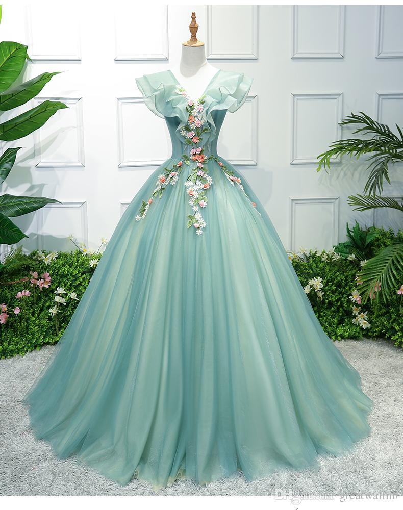 hellgrüne Blumenstickerei gekräuselte Kragen lange Kleid Vintage-viktorianisches Kleid / Marie / medival Ballkleid / Bühne / stuido Leistung