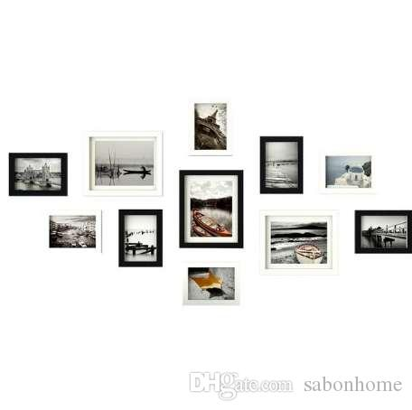 11pcs Wooden Multi Photo Frame Picture Frames Wall Hang Collage Black & White Set CH0032