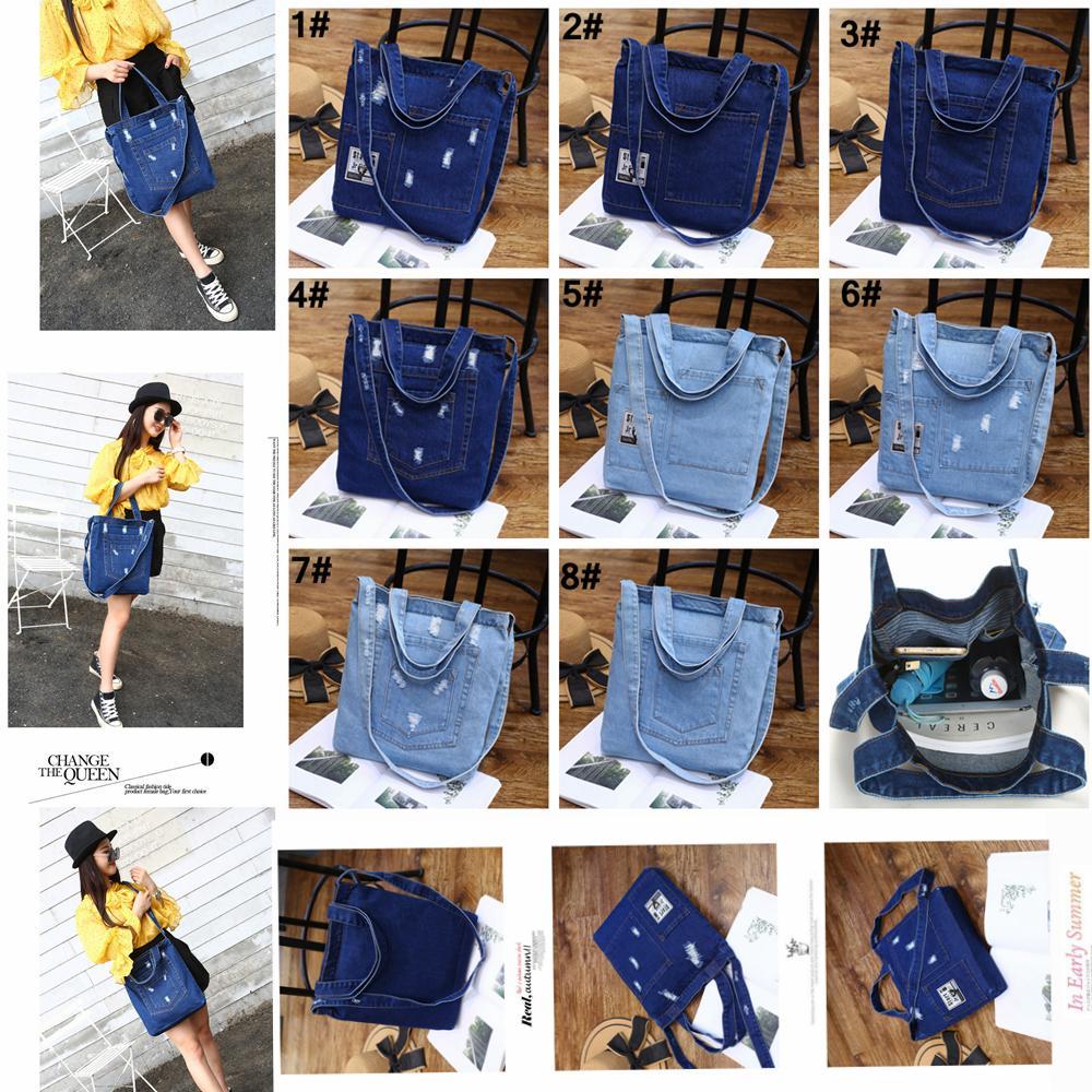 Frauen Denim Umhängetasche Vollfarbige Handtasche Damen Mädchen Casual Vintage Jeans Lagerung Crossbody Shopping Tote AAA1423