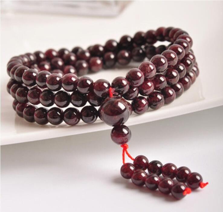 Vino naturale rosso granato pietra 108 perline perline bracciali tibetano Rosario rosario perline di preghiera