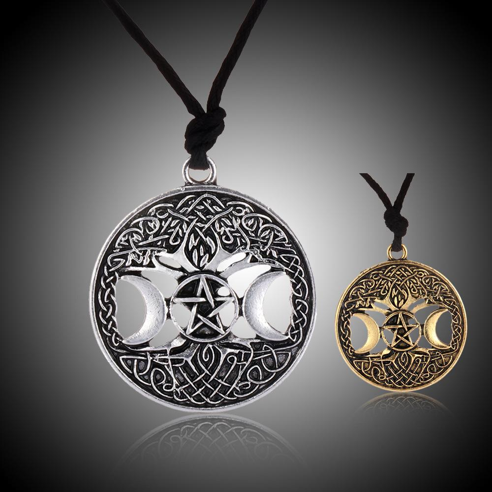 Tree of Life Viking Pendant Necklace Wica Goddess Amulet Moon Necklace Wholesale