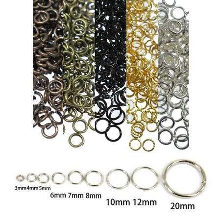 Anelli di salto del metallo all'ingrosso anello spaccato Twist-Ring fascino per monili che fanno connettori 4/5/6/6/8/10/12mm braccialetti diy risultati
