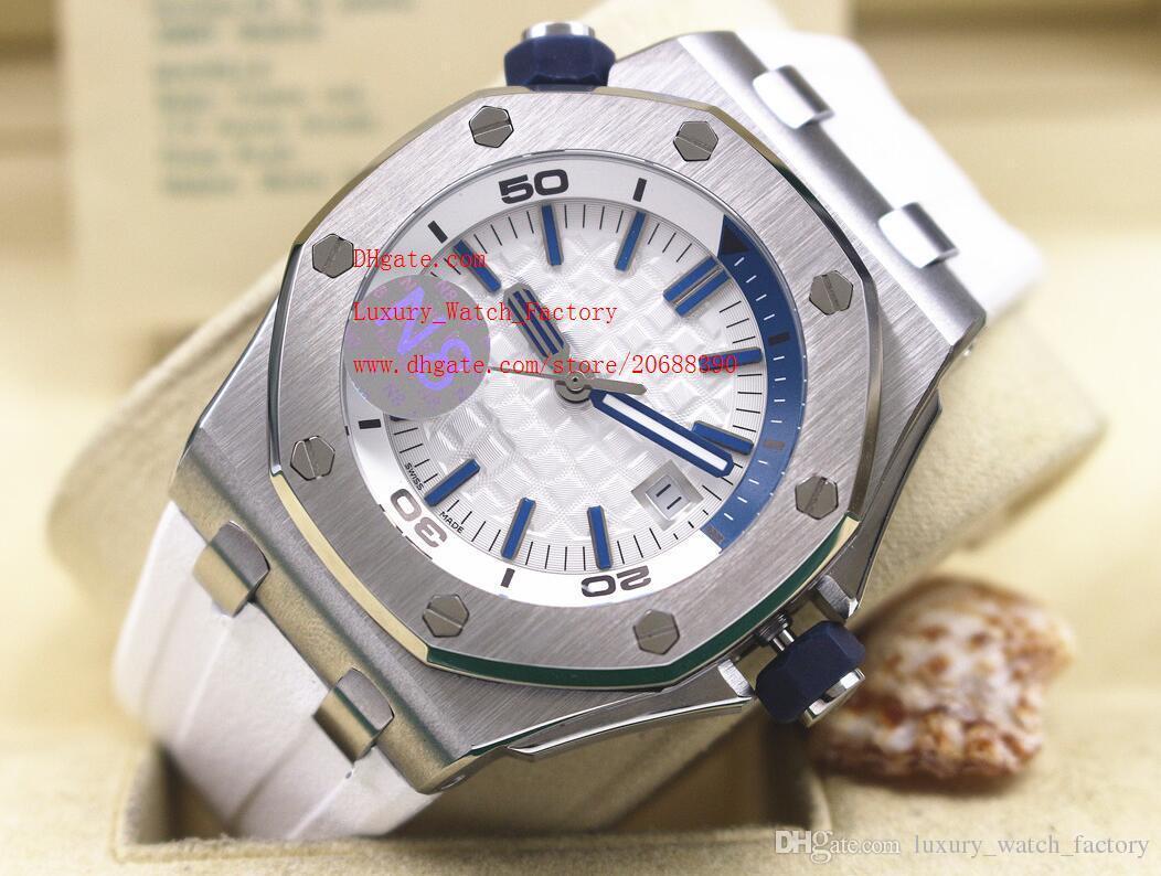 Frete grátis A última versão de luxo mecânico automático mostrador branco de aço inoxidável Mens Watch relógios de alta relógios pulseira de borracha