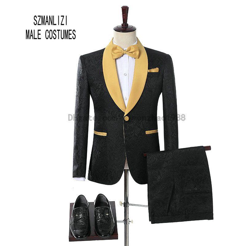 2018 Brand Groom Tuxedos Groomsmen One Button Black Flower Gold Shawl Lapel Custom Made Formal Groom Wear Men Wedding Tuxedos Wedding Suits