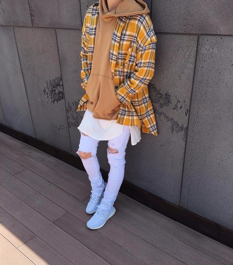 Ecosse chemises de flanelle grille à manches longues Hiphop prolongé ourlet arrondi surdimensionné chemise hommes rouge jaune