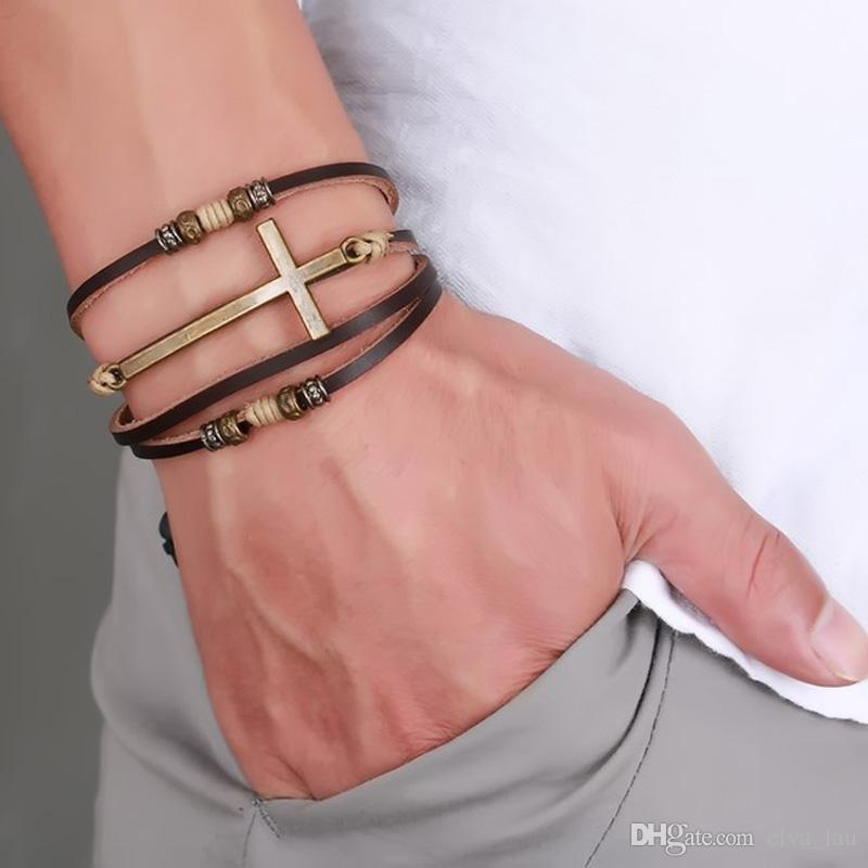 Cow Leather Cross Bracelets & Bangles For Men Jewelry EURO-US Vintage Style Size Adjustable Alloy Bohemia Rope Chain Leather Bracelet