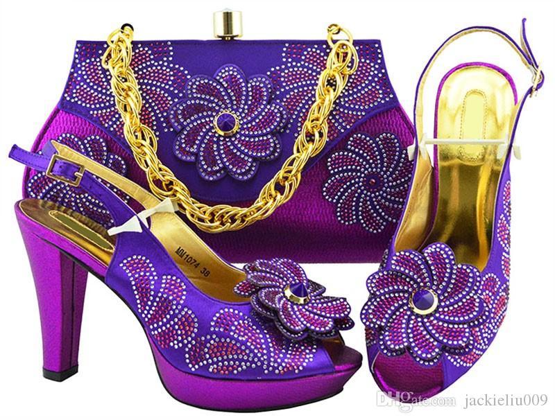 Bombas de moda mulheres roxas com grande flor de cristal projeto para vestido sapatos africanos jogo bolsa combinada MM1074