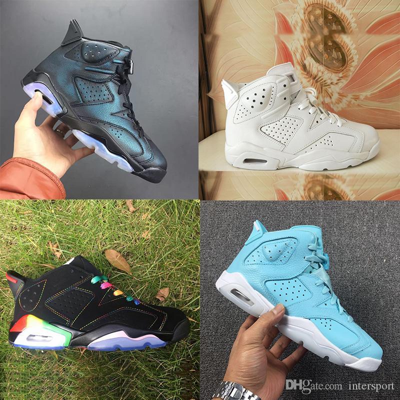 Todos Branco New Hot 6 6s sapatos Mens Basketball Mulheres do arco-íris formadores camaleão Ainda Azul Esporte sapatilhas 36-47