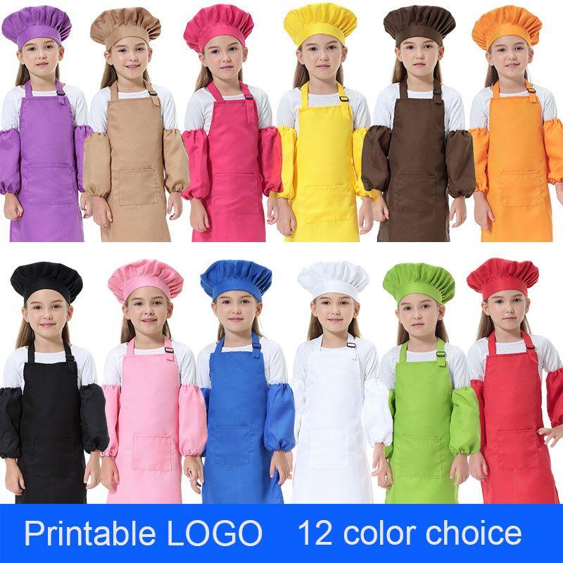 3pcs adorables / set Niños Las cinturas de cocina 12 colores Delantales para niños con SleeveChef Sombreros para Pintura Cocinar Hornear DHL LOGO para imprimir