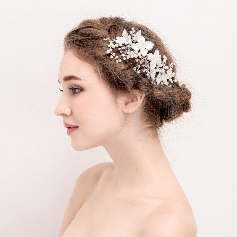 Hand wired Fashion Pearls Hair Jewelry Silver Bridal Comb Wedding Hair Vine Accessories Flower Women Headpiece