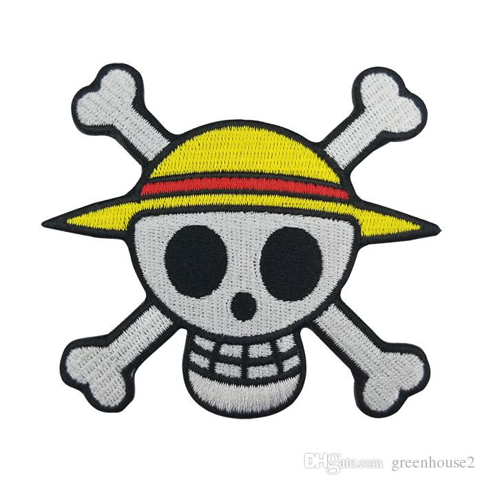 Excellent Quality Skull Anime Embroidered Patch Iron Clothing Bee Applique Front of Jacket Patch Black twill fabric Free Shipping