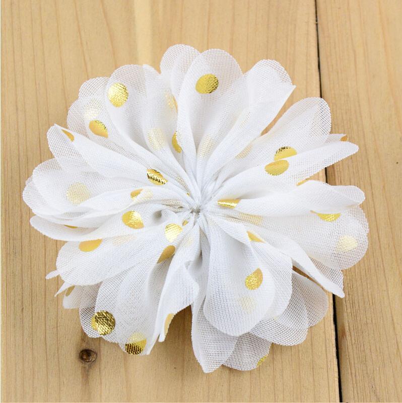 """3.1 """"gasa flores Hairband con sello de oro puntos espalda plana Diy Flor para niños diadema sólido Headwear 24 colores"""
