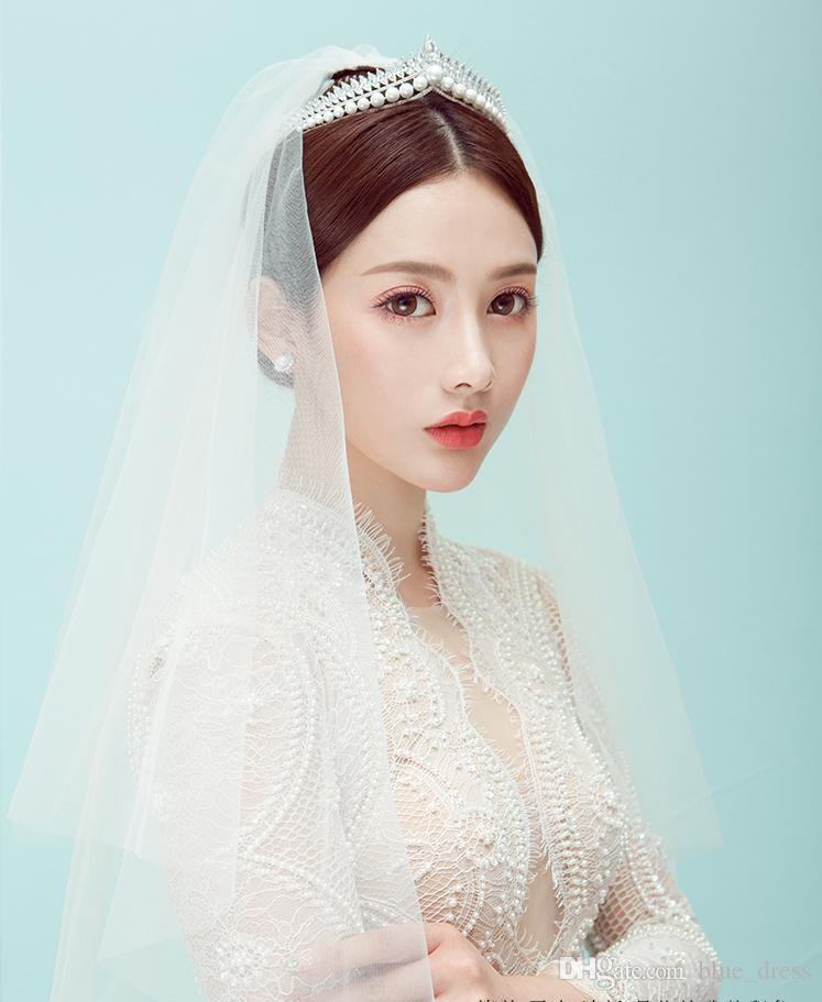 Hot Fashion Stunning Twinkling Full Crystal Pearl Wedding Bridal Flower Girl Tiara High Quality Free Shipping 2020