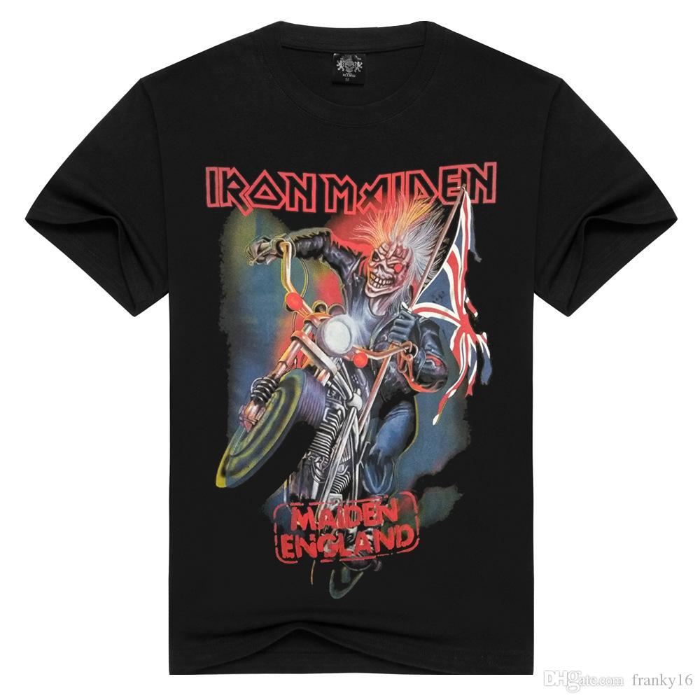 남성용 유럽과 미국 스타일의 3D 인쇄 패션 반팔 티셔츠 아이언 메이든 밴드 힙합 코튼 T 셔츠 남성용