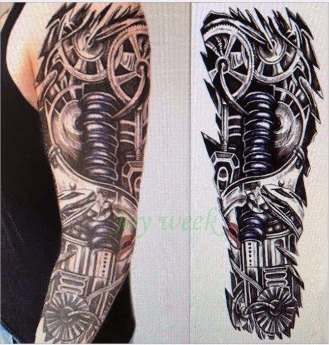 Impermeabile Autoadesivo del tatuaggio temporaneo braccio pieno grande cranio vecchia scuola adesivi tatto flash tatuaggi falsi tatuaggio tatoo per uomini donne ragazza 9