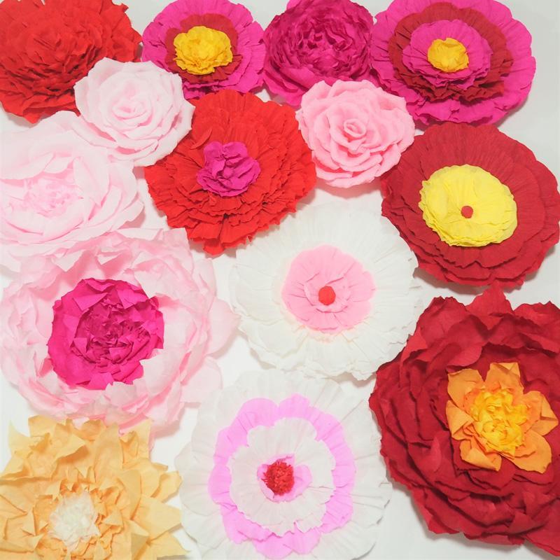 Dev Krep Kağıt Çiçekler Düğün Olay Backdrop Dekorasyon Için 14 ADET Bebek Kreş Gelin Duş Bebek Duş 1M2