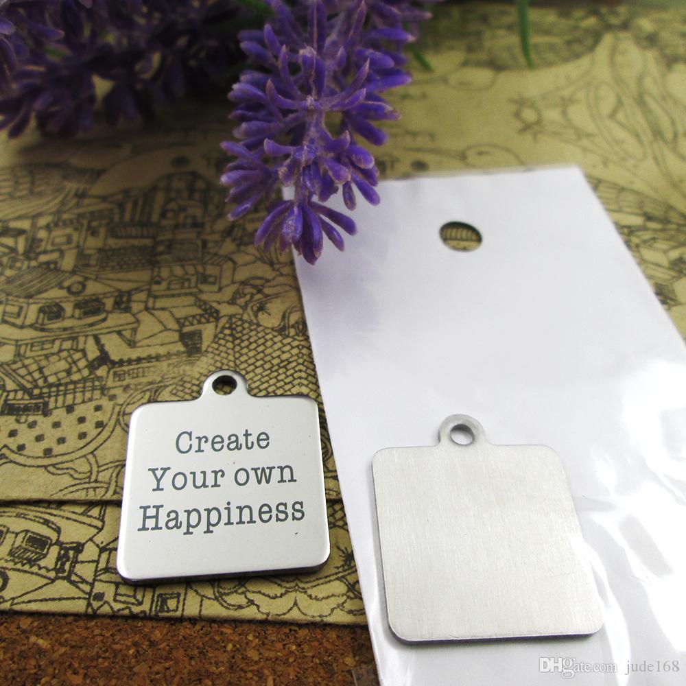 40шт - «Создать свое собственное счастье» прелесть нержавеющей стали больше стиля для выбора DIY очаровывает подвески для ожерелья