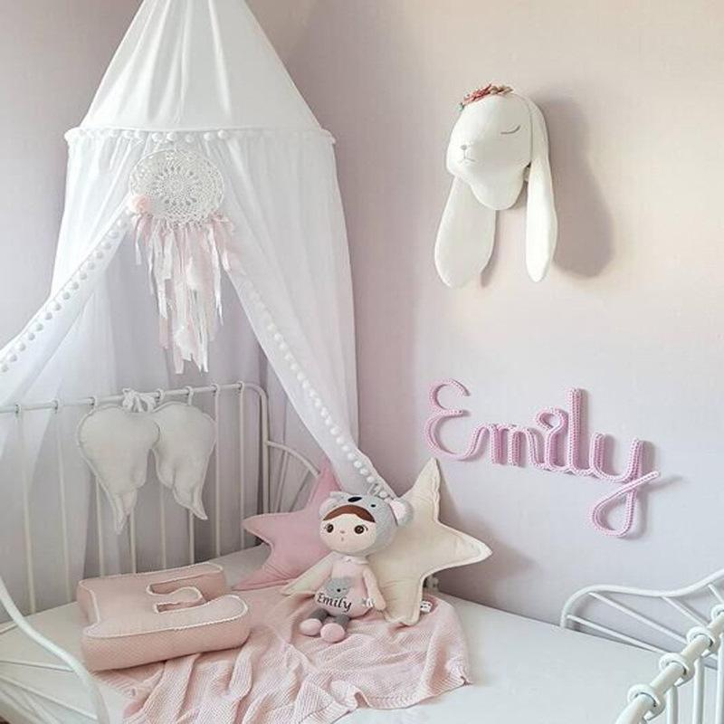 Circular Pink White Grey Canopy Bed Valance Kids Room Decoration Bed Tent Moustiquaire Princess Kids Girls Round Mosquito Net