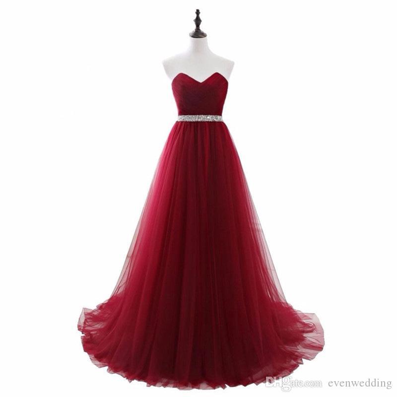 구슬이있는 연인 얇은 명주 그 이브닝 드레스 Burgundy Long Prom Dress 새로운 바닥 길이 파티 드레스 레이스 업