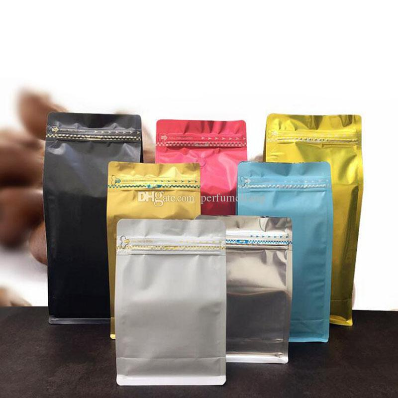 half pound volume Lamination aluminum foil packaging bag coffee powder bag eight side seal zipper bag QW8791