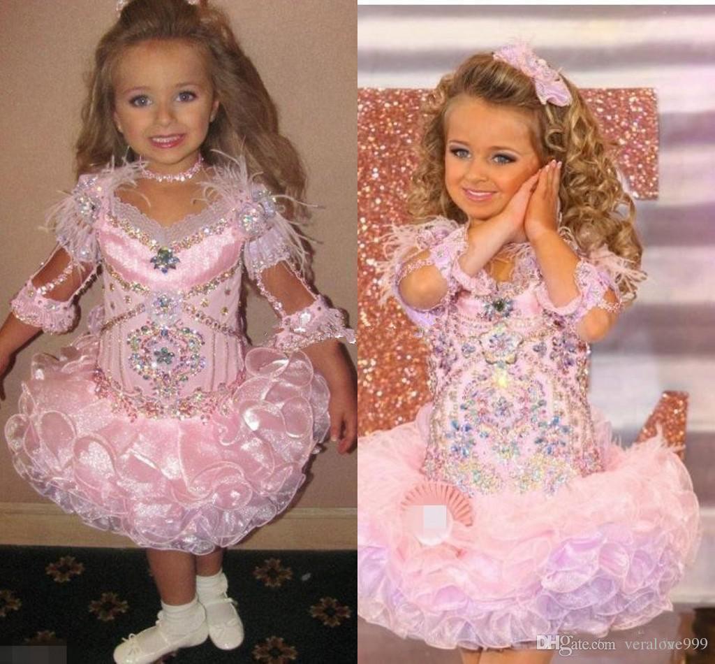 Modest Glitz Toddler Pageant Dresses Sparkly Crystal Ruffles Skirt Cute Little Girls Dresses Princess Wedding Party Formal Dress