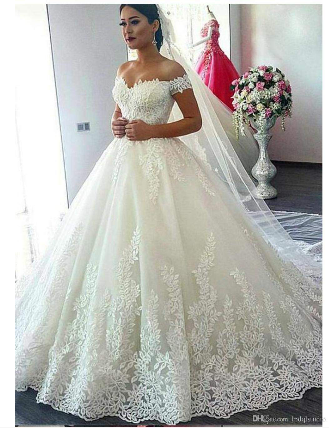 Sexy fuera del vestido de bola del hombro vestido de novia apliques florales con lentejuelas con cremallera trasera tren de barrido más tamaño Vestidos de novia Vestidos nupciales