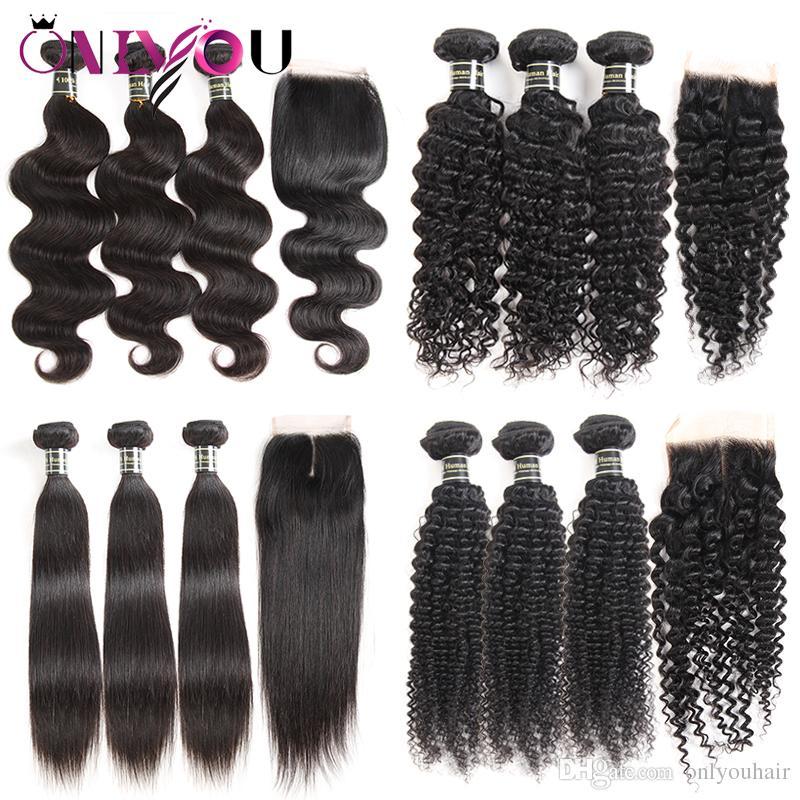 Unprocessed Brazilian Virgin Hair Bundles with Lace Closure 3 Bundle Deals and Middle Part & Free Part Weaves Closure Cheap Human Hair Weave