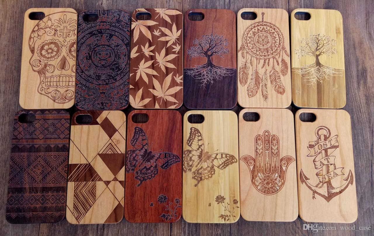 Laser Engraving Wood TPU Case For Iphone 8 7 6 6S Plus X 10 Mobile Phone Cover Cellphone Case Wooden Bamboo Cover For Samsung Mobile Phone