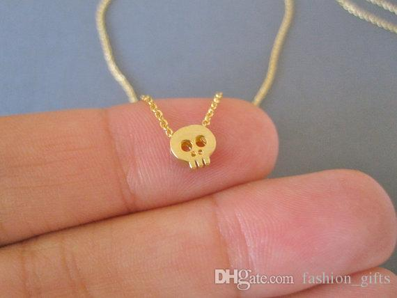 1 pc pequeno crânio cabeça charme esqueleto Colar Bonito Sneaky Estrangeiro Colar Simples Animal Diabo Esqueleto Homem Fantasma Tatar Horror colar de Jóias