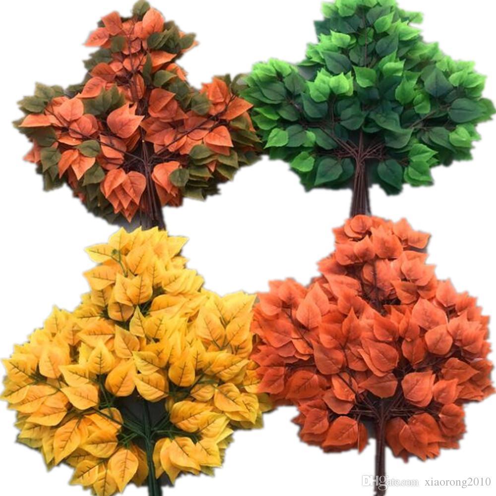 12шт естественный вид березы стебли листьев искусственной зелени завод шелк березы стволовых ветви пять цветов для зелени украшения стены