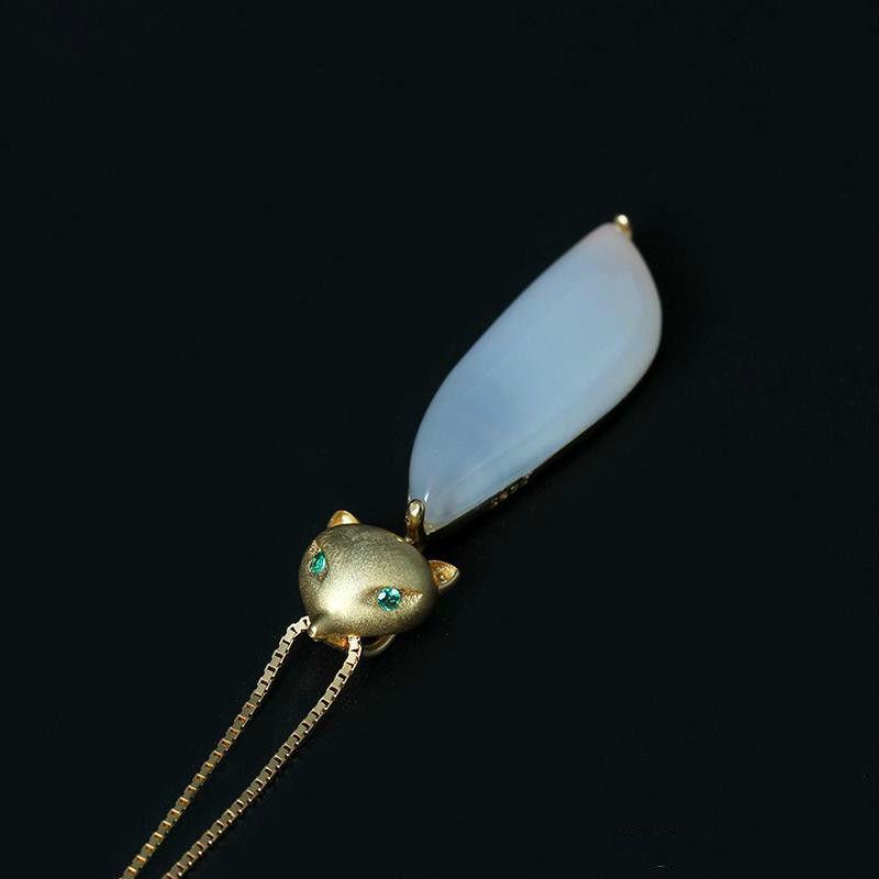 Moda Charm 18 K Altın Kaplama 925 Gümüş 100% Sevimli Tilki Kolye Kadın Doğal Beyaz Yeşim Hamuru Galvanik Altın Tilki Kolye tavsiye