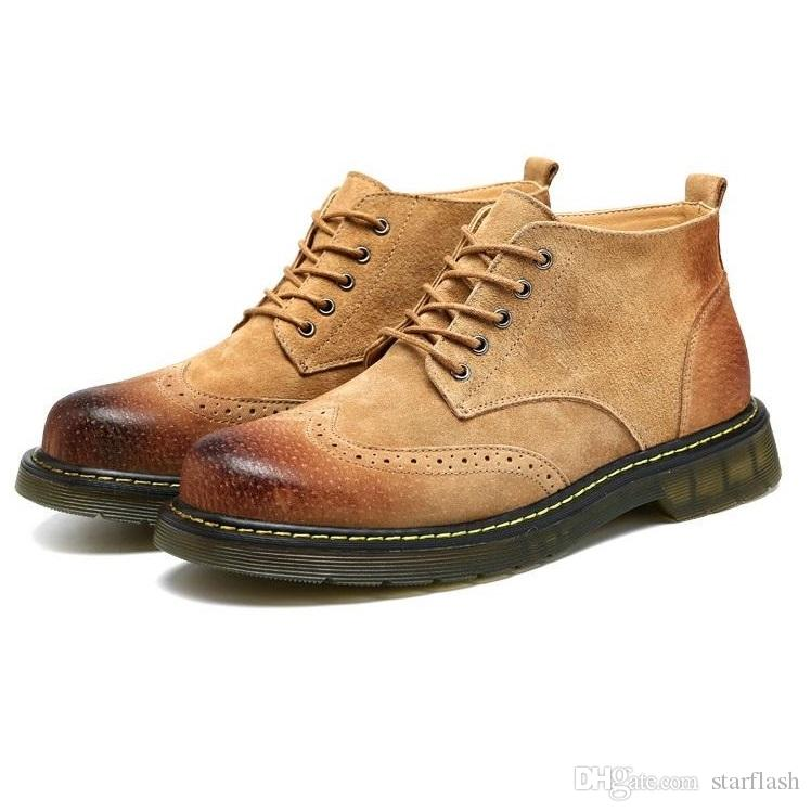 Stivaletti da uomo in vera pelle Stivaletti in pelle scamosciata Martin Stivaletti da lavoro in pelle neri casual scarpe con tacco Q-245