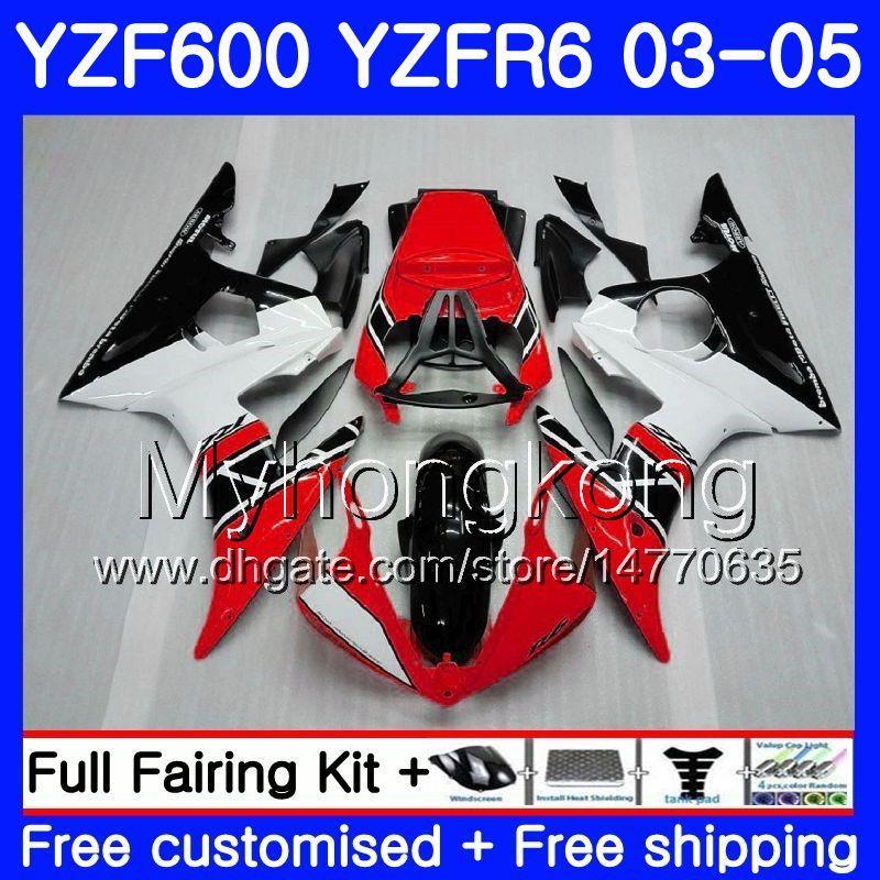 Body For YAMAHA YZF-600 YZF-R6 03 YZF R6 Red black Factory 2003 2004 2005 Bodywork 228HM.27 YZF 600 R 6 YZF600 YZFR6 03 04 05 Fairings Kit