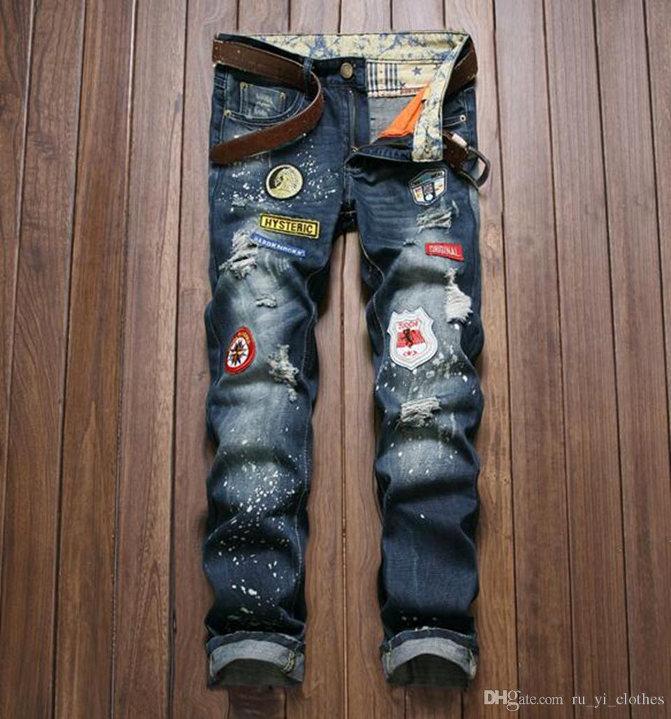 Men in Europe and the han edition of the new fashion personality, cultivate one's morality hole badge foot trousers / 2XS - XL