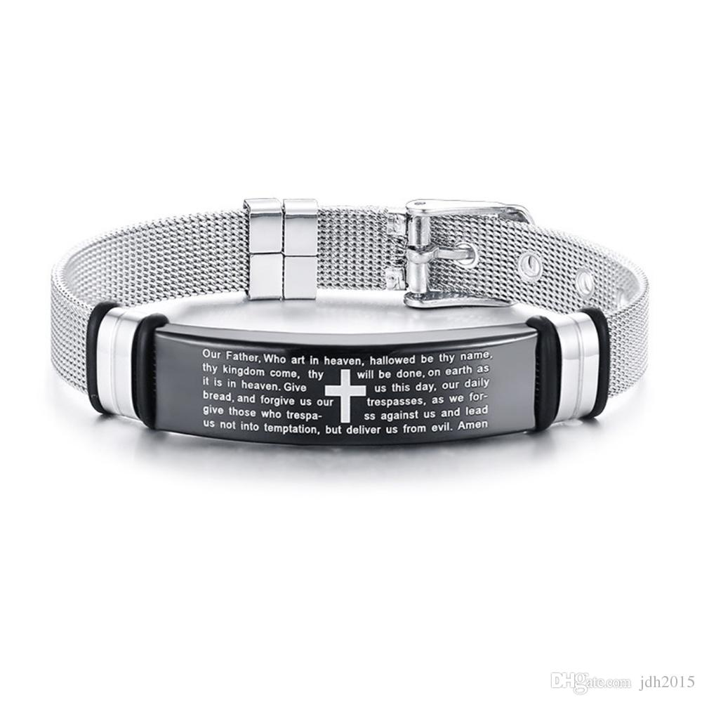 Mens Stainless Steel English Bible Lords Prayer Bracelet Mesh Belt Buckle Clasp Chain Bangle Adjustable