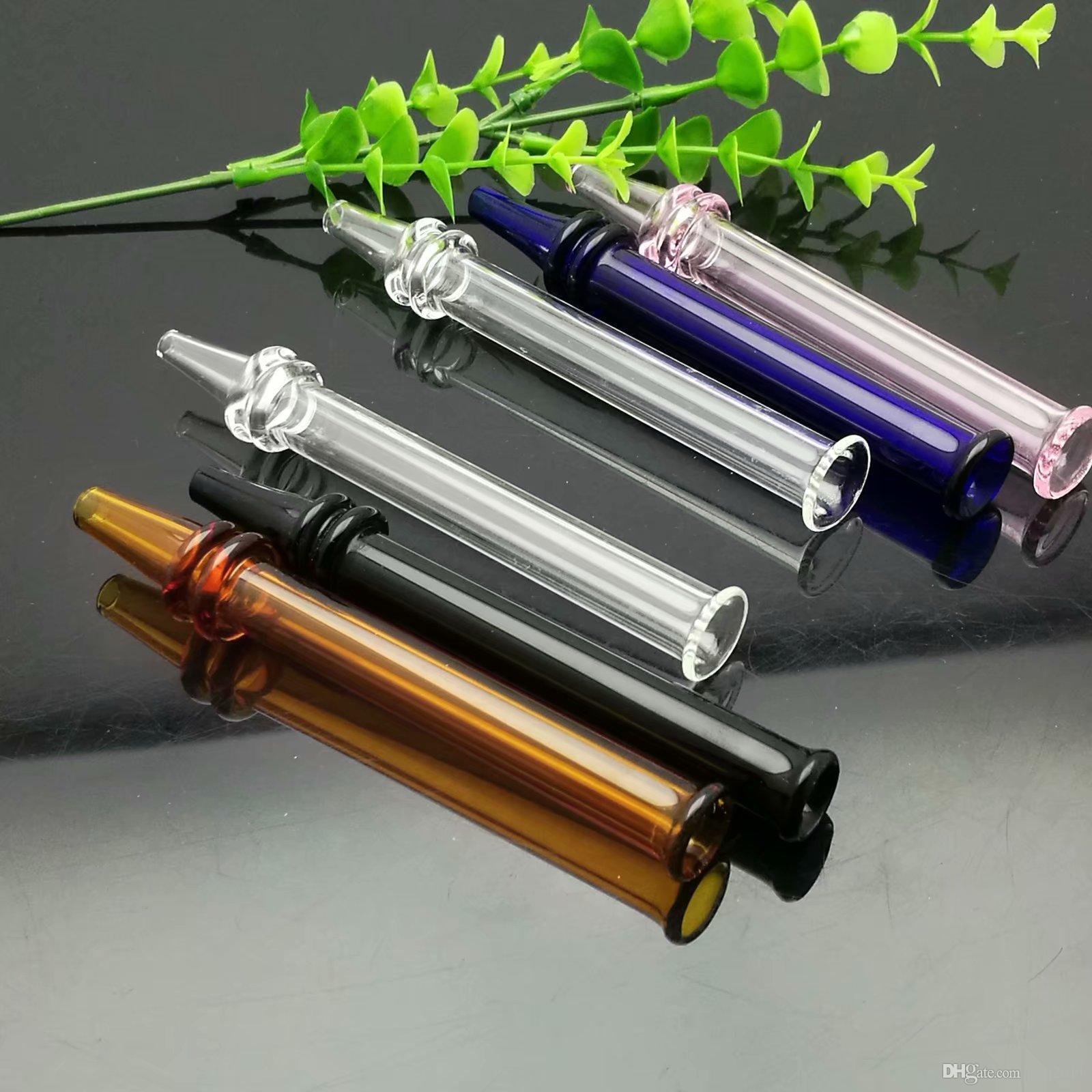 Sıcak yeni 3 mermin renkli cam emme memesi, Cam Bong Su Boru Bongs Boruları Aksesuarları Kaseler, renk rastgele teslim