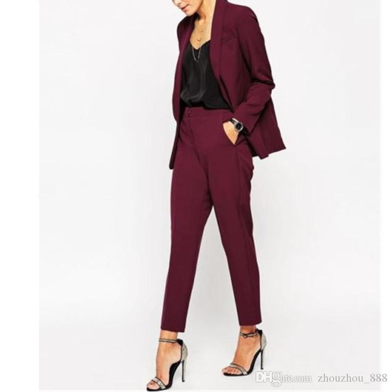 Blazers Brazers Pant Ternos Borgonha Mulheres Senhoras Formal Feito Casaco + Calças Tuxedos Chegada Tamanhos Personalizados e Co tamanho Cores
